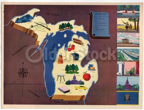 Michigan State Vintage Graphic Art School Classroom Map of Michigan 1939