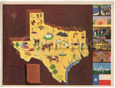 Texas State Vintage Graphic Art Illustrated Educational School Map of Texas 1939
