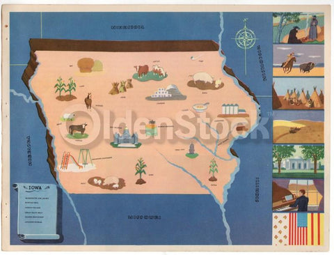 Iowa State Vintage Graphic Art Educational Classroom Map of Iowa 1939