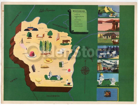 Wisconsin State Antique Graphic Art Illustrated Educational Map of Wisconsin 1939