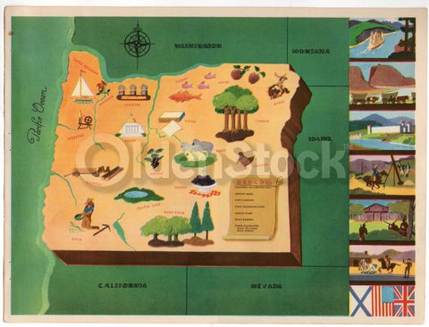Oregon State Vintage Graphic Art Illustrated Educational School Map of Oregon 1939
