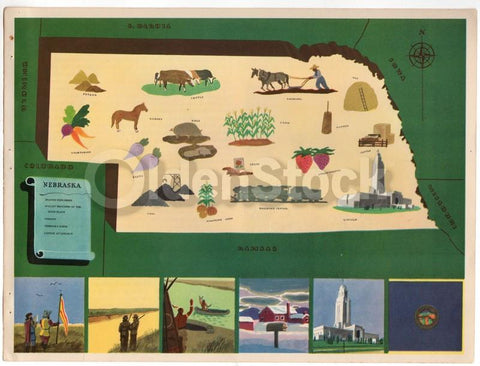 Nebraska State Vintage Graphic Art School Classroom Map of Nebraska 1939