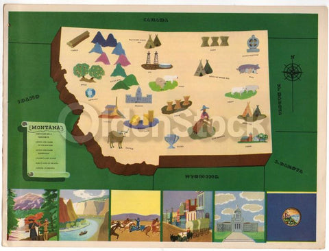 Montana State Vintage Graphic Art School Classroom Map of Montana 1939