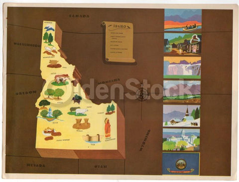 Idaho State Vintage Graphic Art Educational School Map of Idaho 1939