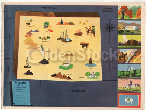 Wyoming State Antique Graphic Art Illustrated Educational School Map of Wyoming 1939