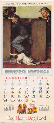 Tom Sawyer & Dog in Church Vintage Norman Rockwell Art Morrell Calendar Poster 1946