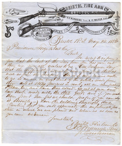 Ambrose Burnside Civil War Carbine Rifle Original Bristol Firearm History Letter 1856