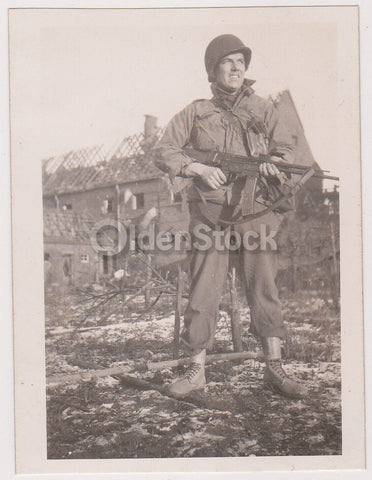 American GI Overseas Posed with Machine Gun Vintage WWII Snapshot Photo