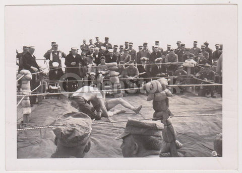 American GIs Navy Boxing Match on Deck Vintage WWII Soldiers Snapshot Photo