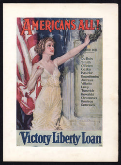 Americans All! Lady Liberty Victory Loan War Bonds Vintage Patriotic WWI Poster Print