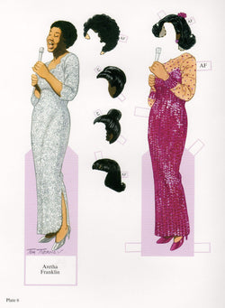 Aretha Franklin Soul Music Legend Illustrated Paper Doll Cut-Out Print