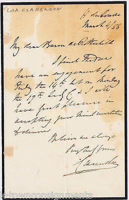 GEORGE VILLIERS EARL CLARENDON AUTOGRAPH SIGNED 1850s - K-townConsignments