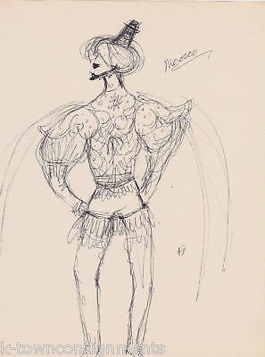 HAL GEORGE MOROCCO VINTAGE OPERA COSTUME DESIGN SKETCH - K-townConsignments