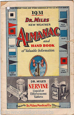ALMANAC DR. MILES WEATHER VINTAGE GRAPHIC AD 1931 - K-townConsignments