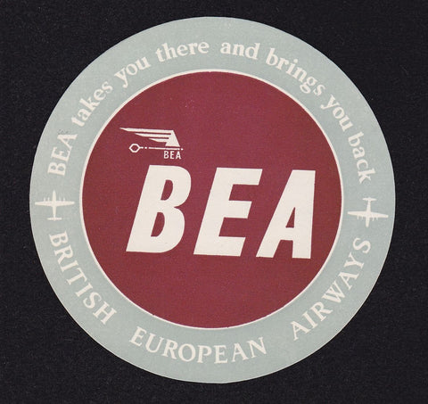 BEA British European Airways Airline Vintage Graphic Advertising Luggage Tag Sticker
