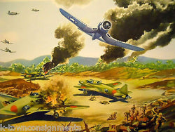 VOUGHT CORSAIR WWII P&W MILITARY AIRCRAFT GRAPHIC ART POSTER PRINT 1946 - K-townConsignments