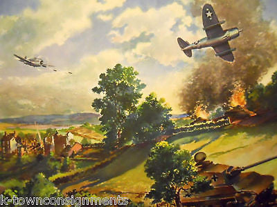 P47 AIR DOG FIGHT WWII AIRCRAFT VINTAGE 1940s HOME FRONT LITHOGRAPH POSTER - K-townConsignments