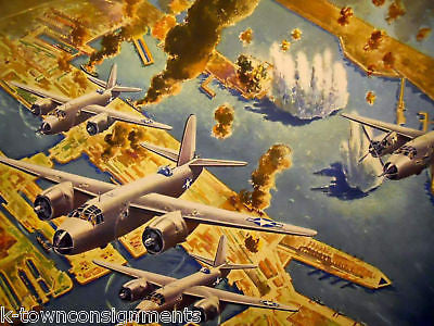 WWII BOMBER PLANE LARGE P&W MILITARY AVIATION LITHOGRAPH POSTER PRINT 1946 - K-townConsignments