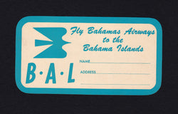 Bahamas Airways BAL Vintage Graphic Advertising Luggage Sticker Decal