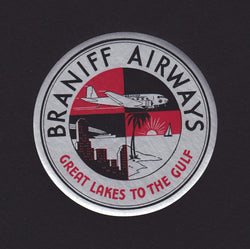 Braniff Airways Great Lakes to the Gulf Vintage Graphic Advertising Luggage Sticker Decal