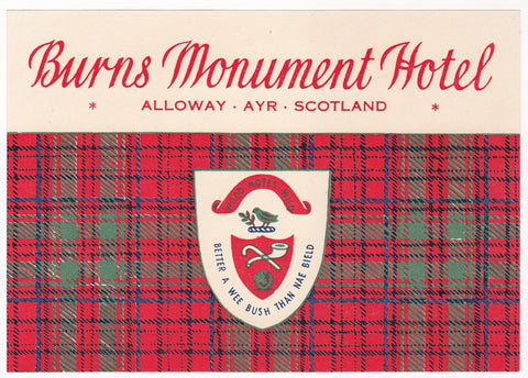 Burns Monument Hotel Alloway Ayr Scotland Vintage Advertising Luggage Sticker