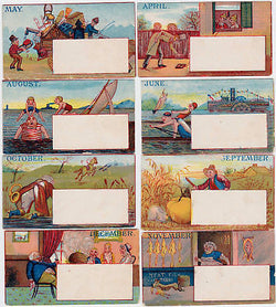 SEASONAL DIE CUT CALENDAR VINTAGE 12 MONTHS GRAPHIC ART VICTORIAN TRADE CARDS - K-townConsignments