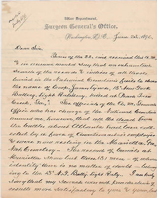 CIVIL WAR SOLDIER BATTLE OF ATLANTA 13th NEW YORK 12th MASS INFANTRY BURIAL DOCS - K-townConsignments