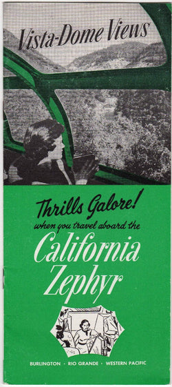 California Zephyr Vista Dome Railroad Train Vintage Graphic Illustrated Travel Booklet Brochure