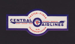 Central Airlines Airmail Carrier Vintage Graphic Advertising Luggage Sticker Decal