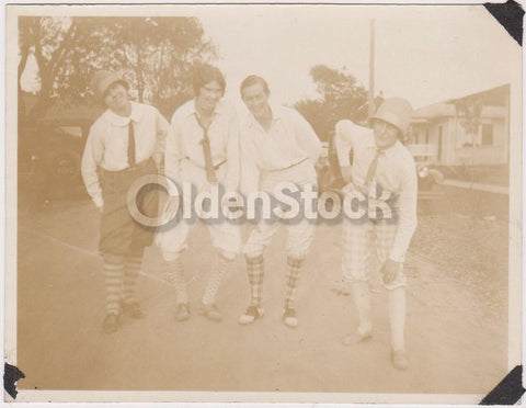 College Girls in Argyle Socks & Slacks Having Fun Antique Snapshot Photograph