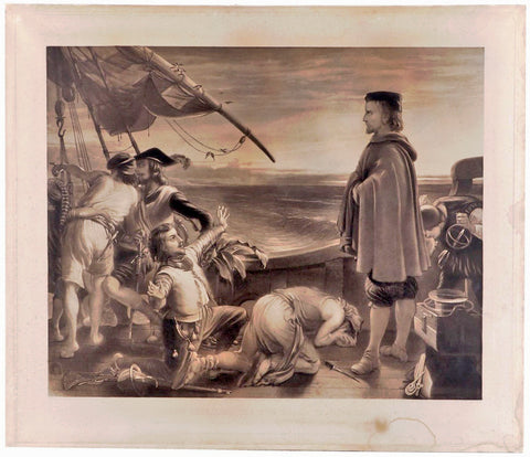 Dawn Revealing the New World to Columbus Antique Linen Backed Engraving Print