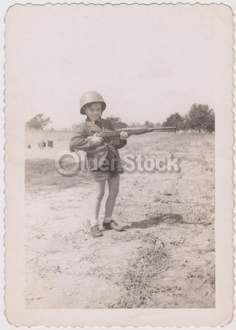 Cute Little Boy with A Gun Playing Army Man Dress Up Vintage Snapshot Photograph