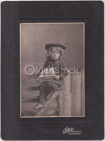 Cute Little Sailor Boy Toy Sailing Ship Milwaukee IL Fine Antique Photo on Board