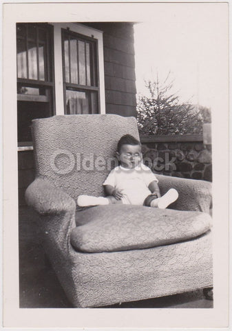 Cute Pudgy Baby Boy Asleep on the Porch Armchair Vintage Snapshot Photo