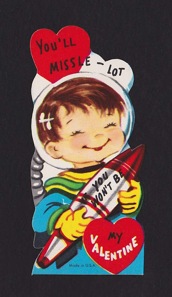 Cute Space Rocket Boy Astronaut Vintage Valentine's Day Greeting Card