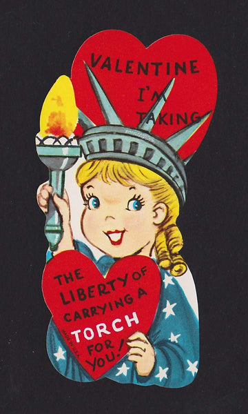 Cute Statue of Liberty Girl Vintage Patriotic Valentine's Day Greeting Card