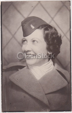 Cute WAC Military Woman in Uniform Fun Smile Vintage WWII Snapshot Photograph