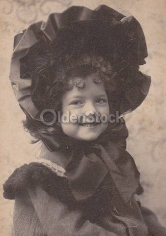 Darling Little Girl Great Smile Fine Bonnet IDed Antique Snapshot Photo on Board
