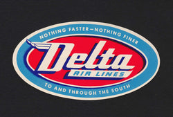 Delta Airlines Southern Routes Vintage Graphic Advertising Luggage Sticker Decal