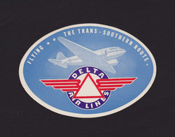 Delta Airlines Trans-Southern Route Vintage Graphic Advertising Luggage Sticker Decal
