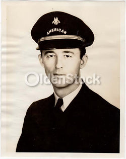 Donovan Wood American Airlines Pilot in Uniform Vintage Aviation Advertising Photo