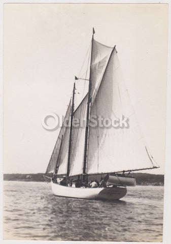 Early American Sailing Ship Antique New England Boating Snapshot Photograph