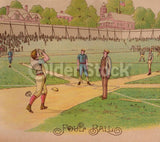 Foul Ball! Early American Baseball Game Catcher Antique Chromolithograph Print 10.5x13.5""