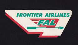 Frontier Airlines Vintage Graphic Advertising Luggage Sticker Decal