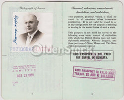 German Man Post-WWII Vintage Cancelled US Passport - Stamps to Bulgaria Uruguay