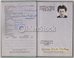 German Woman Post-WWII Vintage Cancelled UK Passport - Travel Stamps to United States