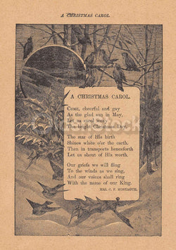 A Christmas Carol Poem Antique Graphic Illustration Print 1902