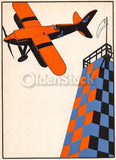 Stunt Pilot Racing Old Bi-Plane Antique Graphic Art Illustration Print 1928