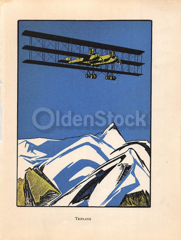 Old Tri-Plane Soaring Over the Alps Antique Graphic Art Illustration Print 1928