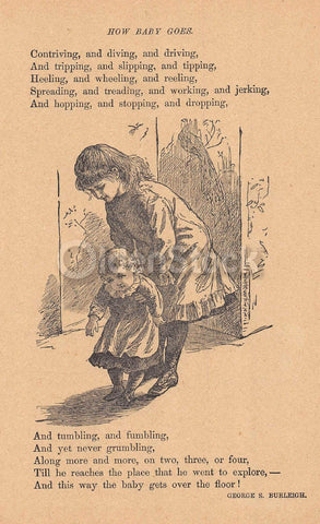 How Baby Goes Toddler Walking Poem Antique Graphic Illustration Print 1902